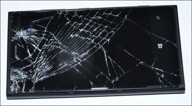 Broken glass of Nokia Lumia 920