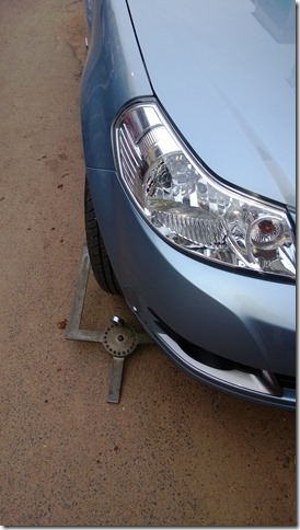 Car wheel clamped