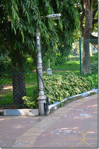 Light posts in Robinson Park, Chennai