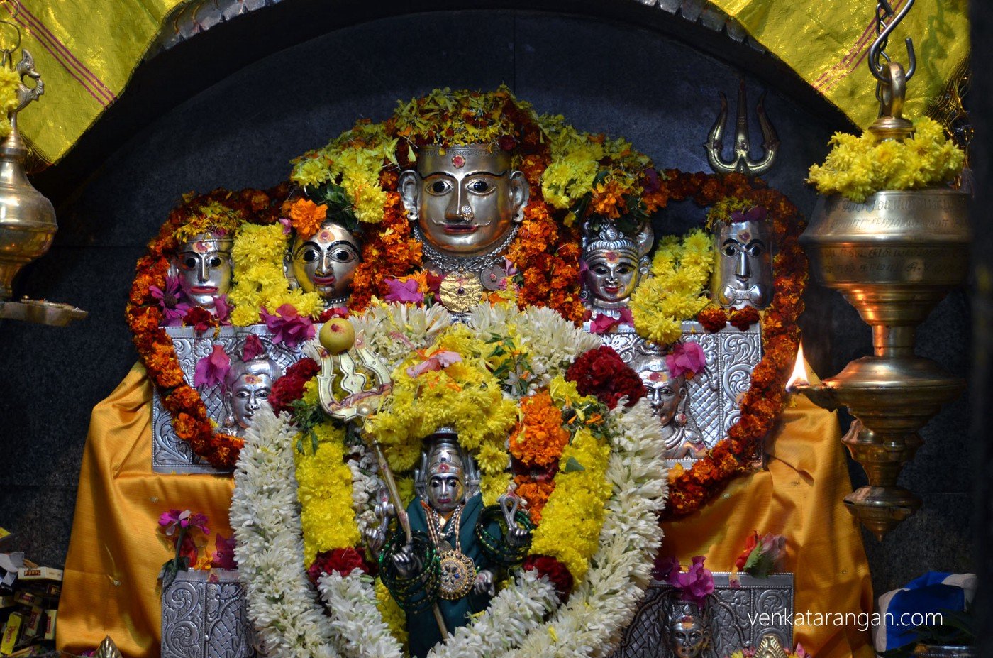 Dazzling view of Goddess Mariamman, presiding deity of a local temple, Bokapuram