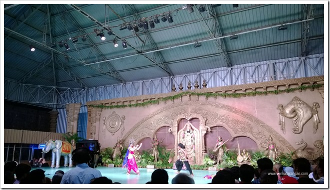 Stage near temple for cultural programs