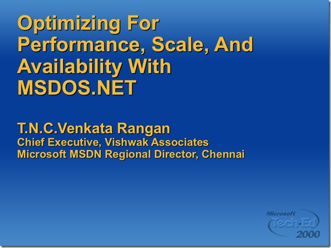 optimizing for performance, availability with msdos.net