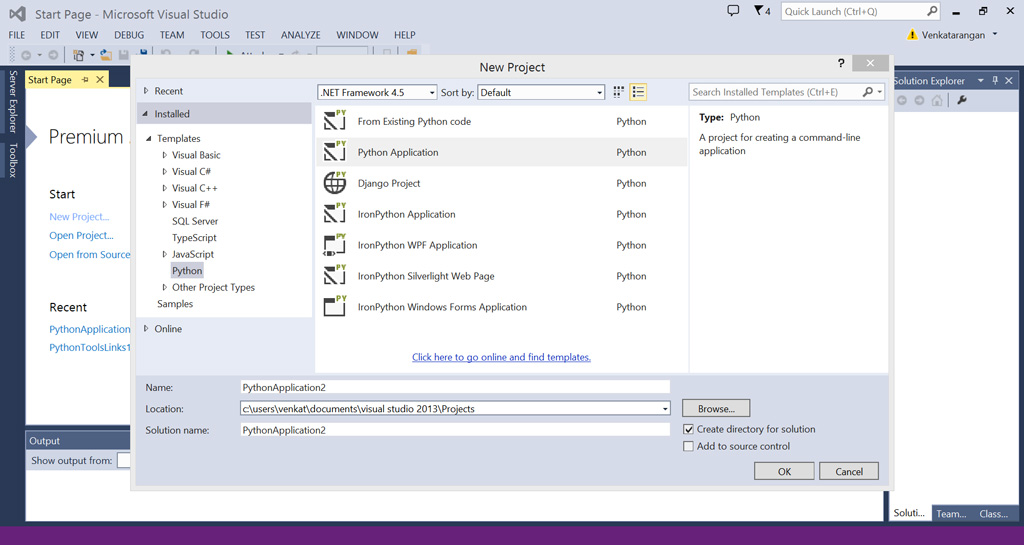 New Python Project from Visual Studio 2013