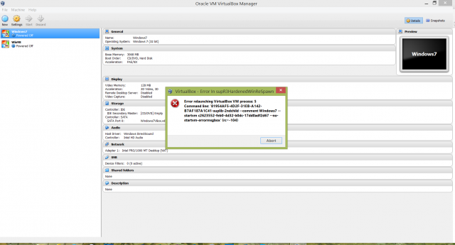 Error relaunching Virtual VM process:5