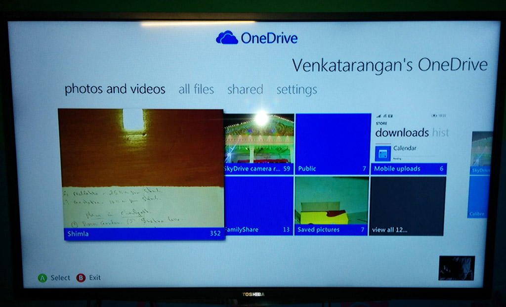 Using Microsoft OneDrive app in XBOX 360