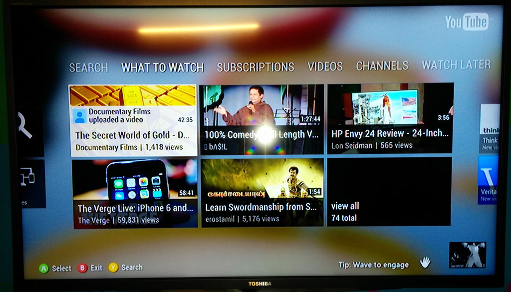 Using YouTube app in XBOX 360