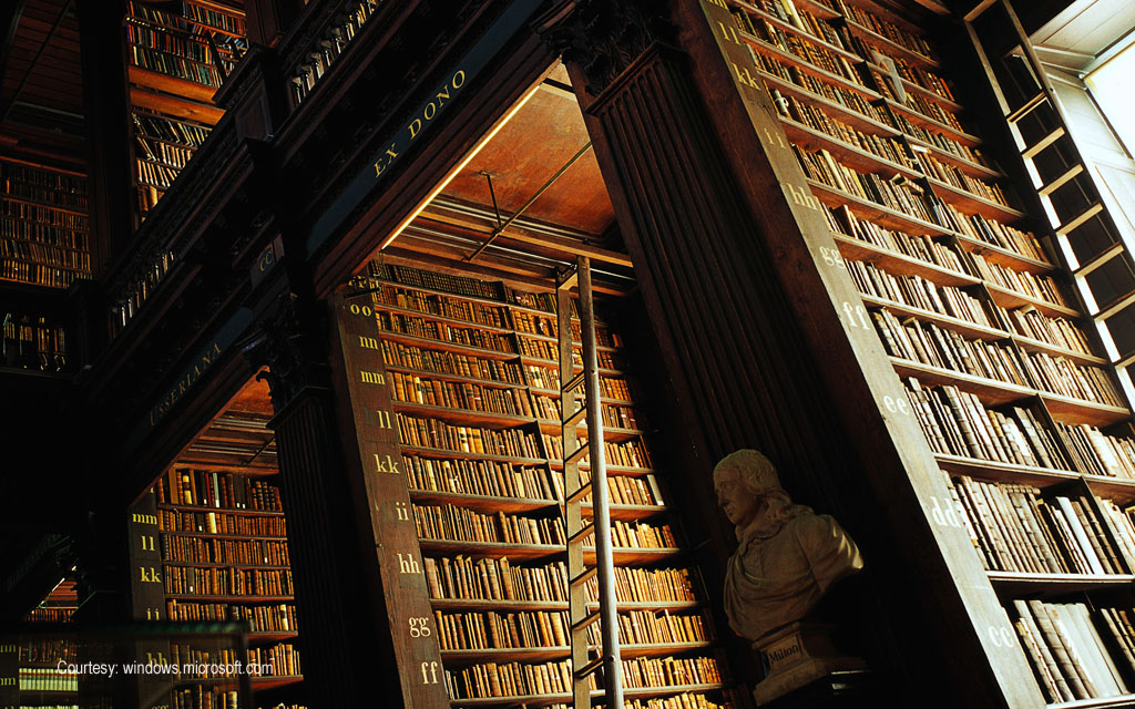 Marble busts and oak shelving, The Long Room, Trinity College Library, Dublin, Ireland