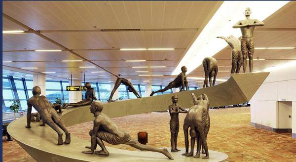 Picture of Yoga statues in New Delhi Airport (Terminal 3), Courtesy: MEA