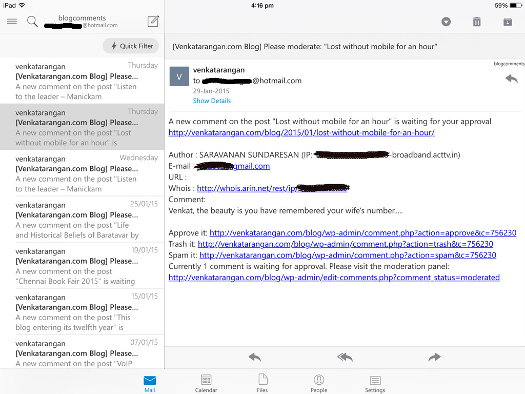 Microsoft Outlook app in iPad