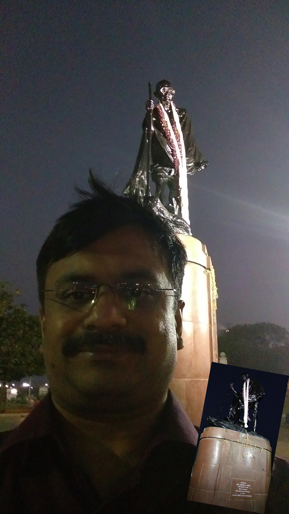 Selfie with Mahatma Gandhi statue in Marina Beach