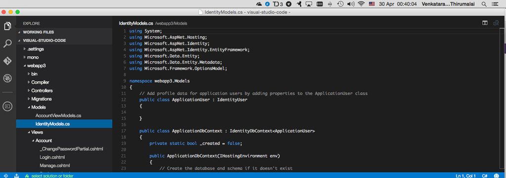 Microsoft Visual Studio Code running in Mac OS X