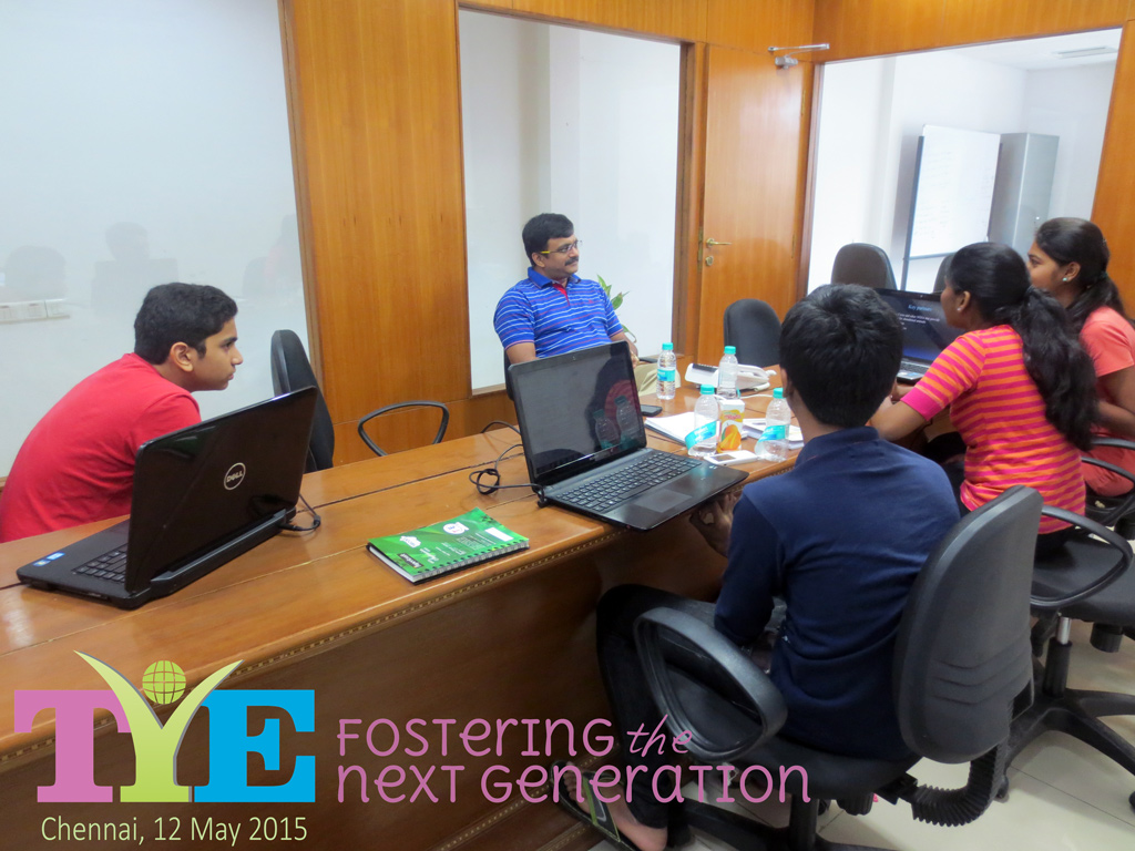 Students presenting in TiE Chennai office for TyE