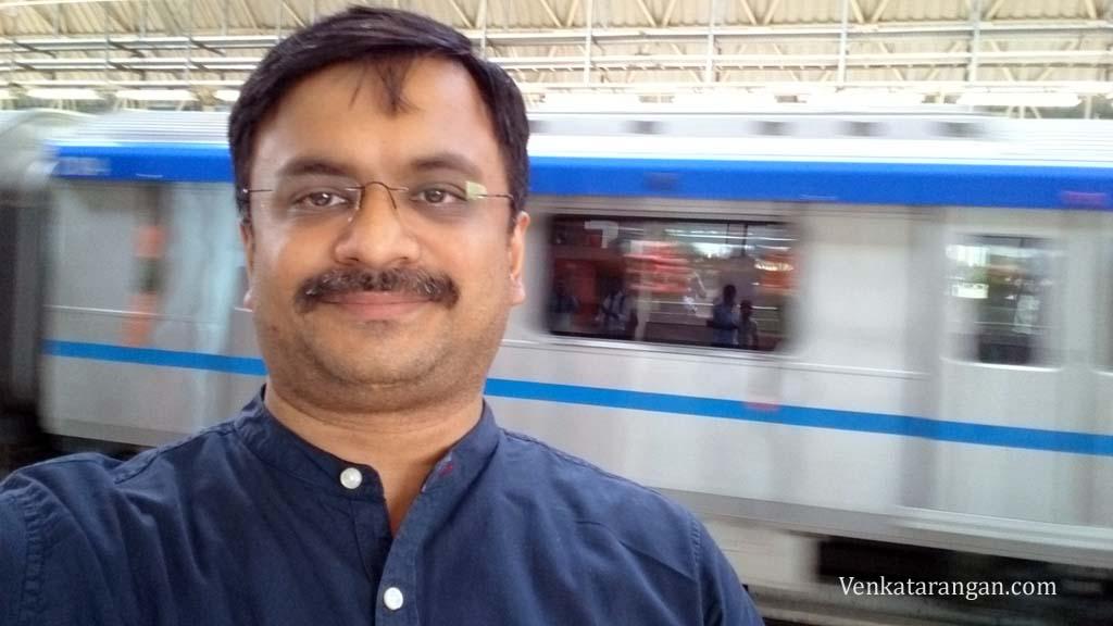 Selfie with a running Chennai Metro coach