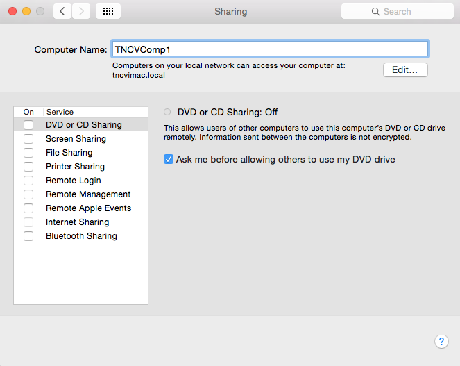 Change in Mac OS System Preferences under Sharing, Computer Name