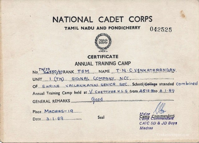 TNCV-NationalCadet-Corps Certificate1989