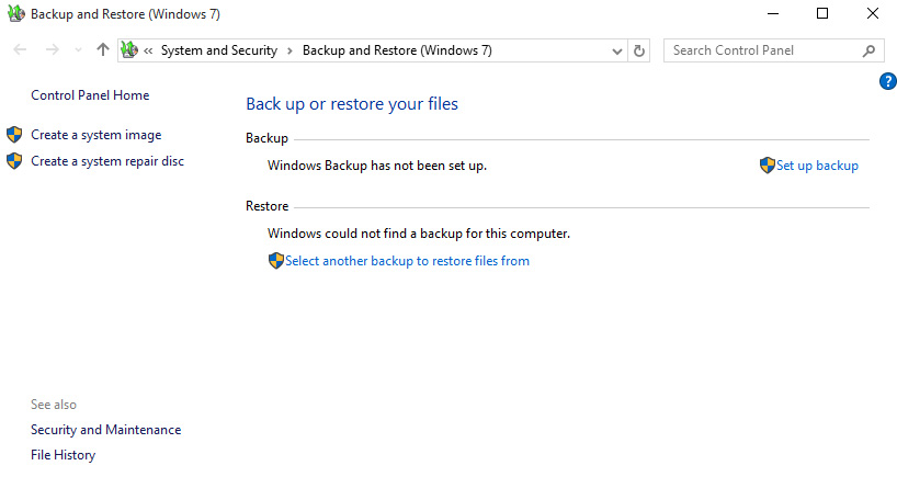 Backup and Restore files (Windows 7) is back in Windows 10