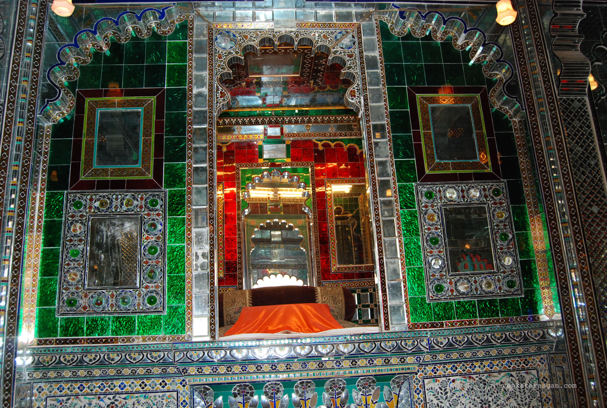 Sheess Mahal or Palace of Mirrors and glasses