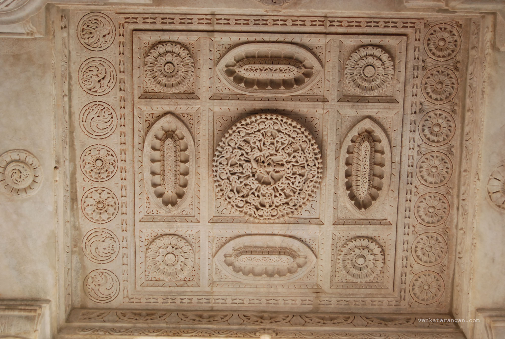 Marble work in the ceiling in Ranakpur Temple