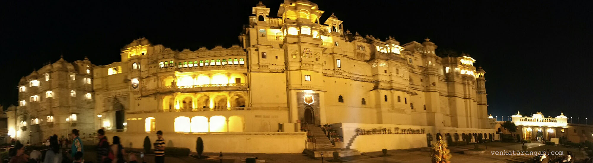 City Palace of Udaipur in night with lights