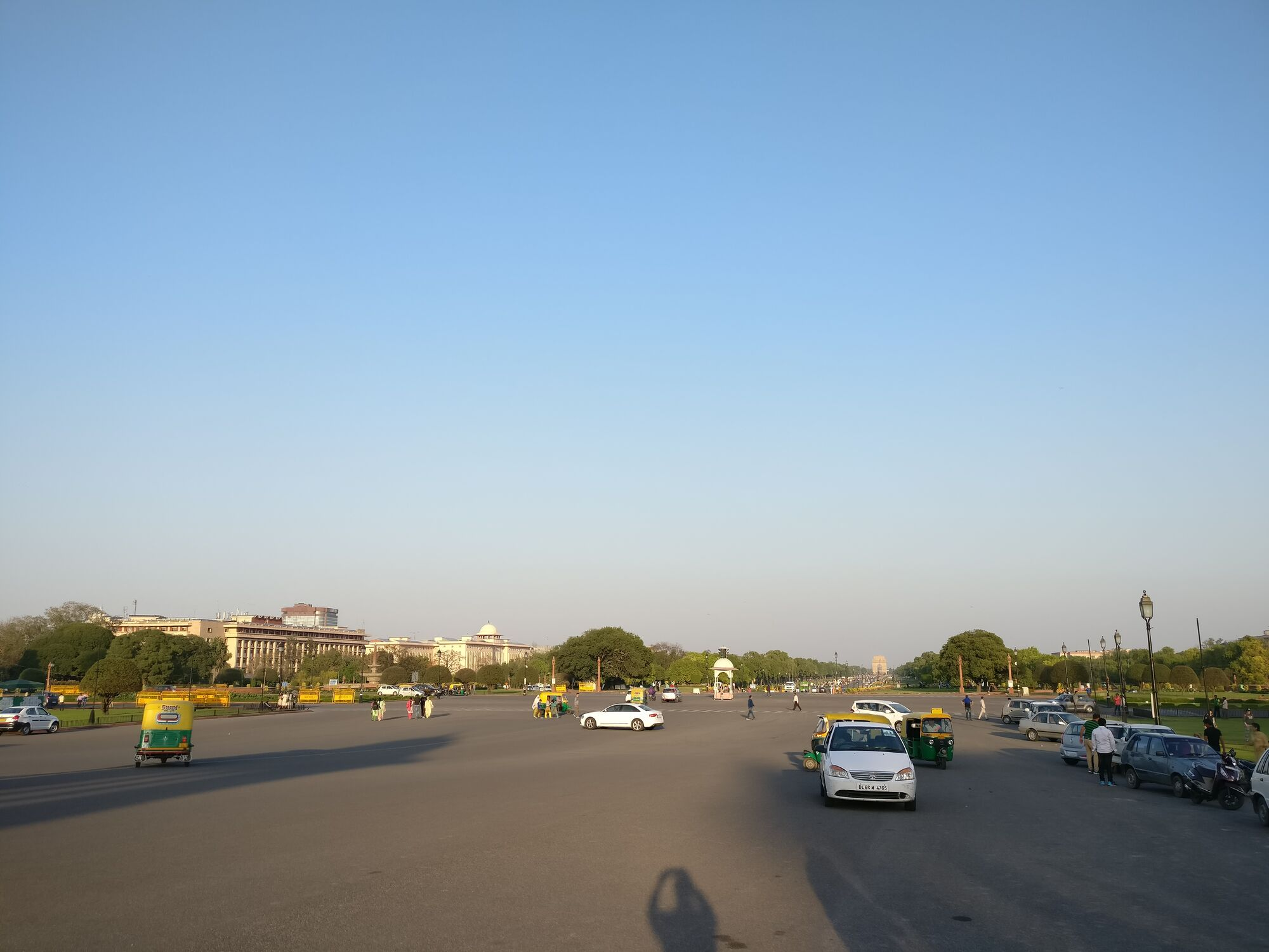 View of the Rajpath (ceremonial boulevard in New Delhi) from the Raisina Hillside, towards India Gate which is on the Eastern end of the Rajpath.