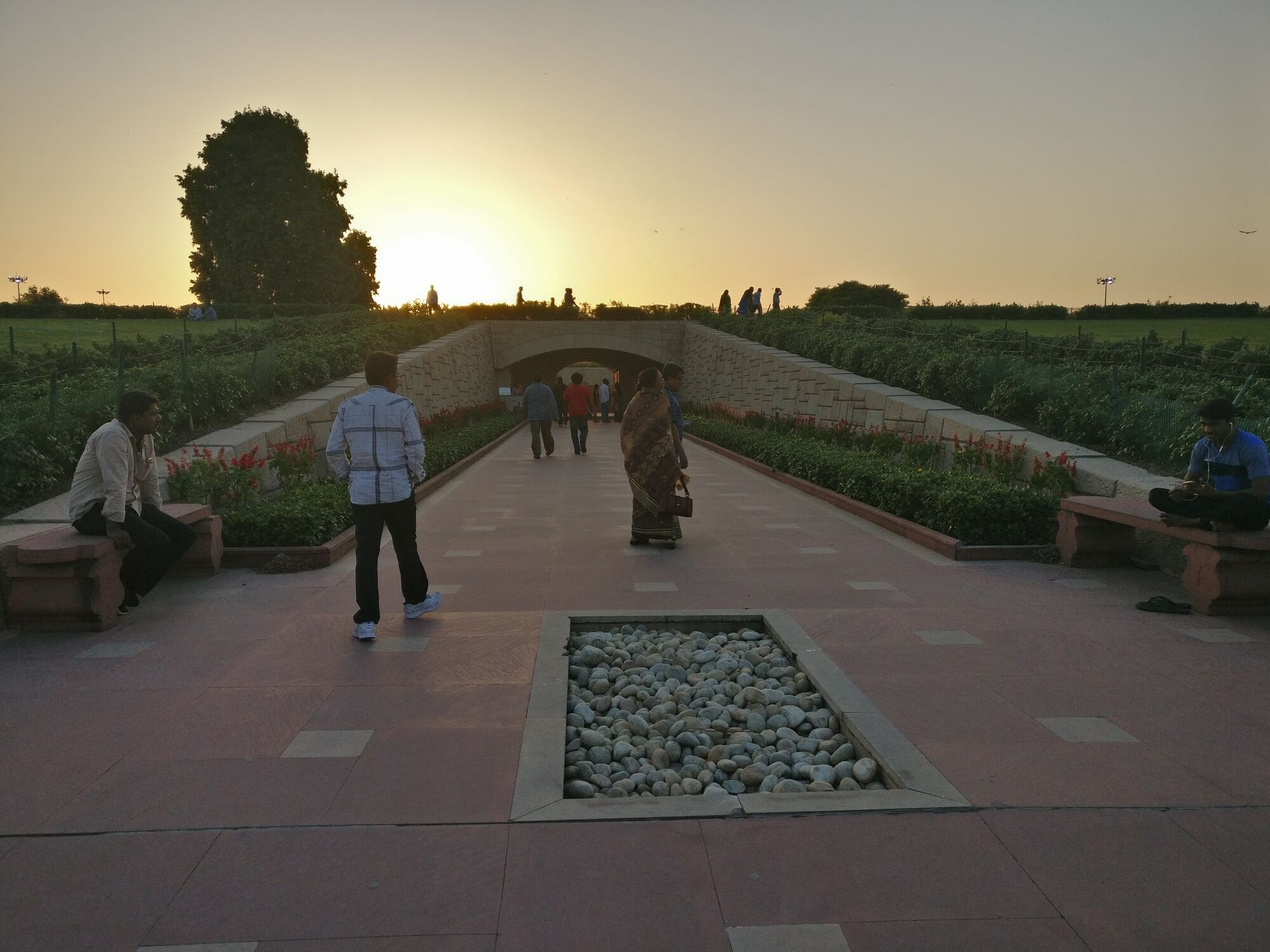 The pathway leading to Mahatma Gandhi's memorial