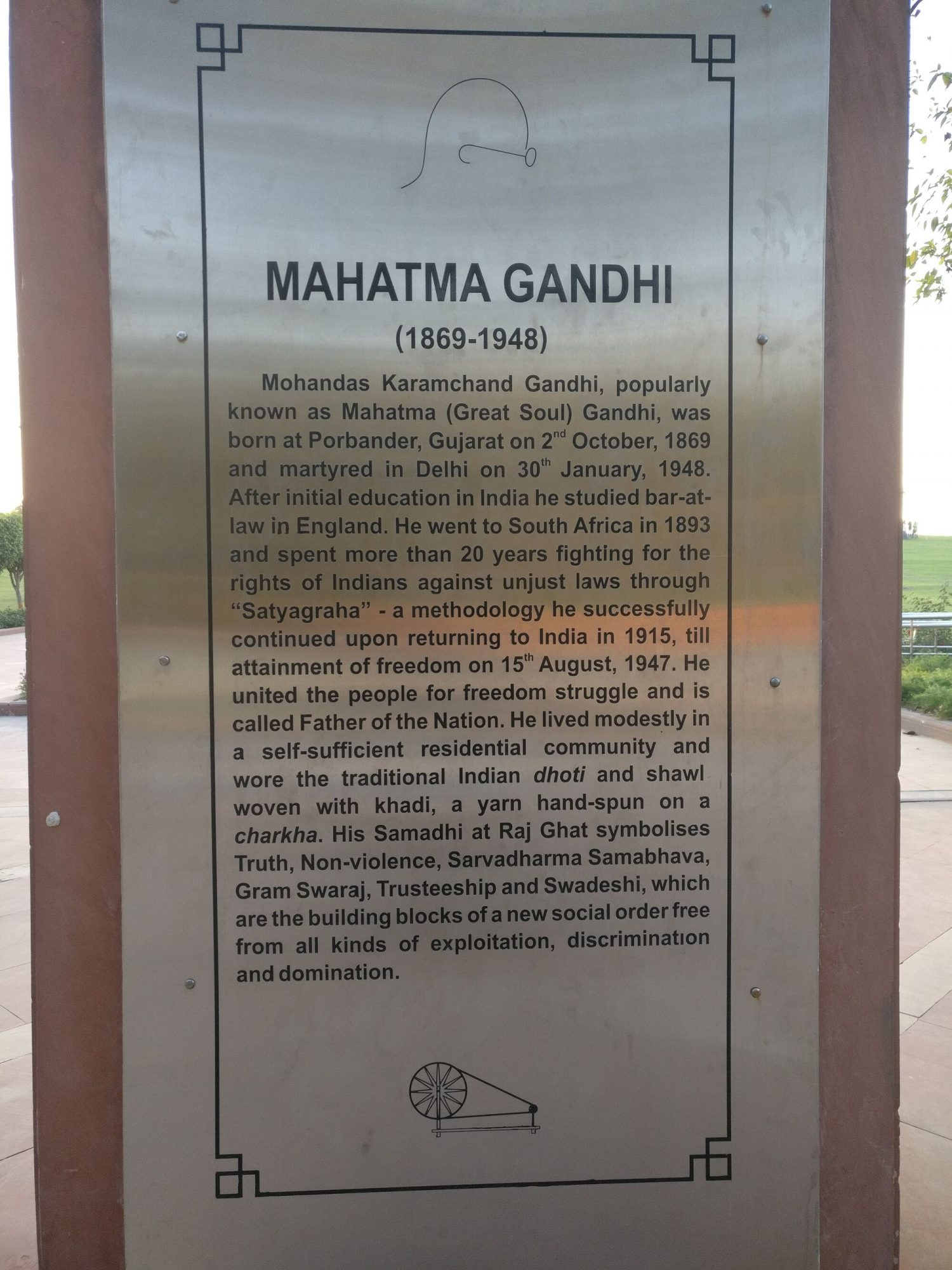 A short biography of Gandhiji (1869-1948), the Father of the Nation (India).