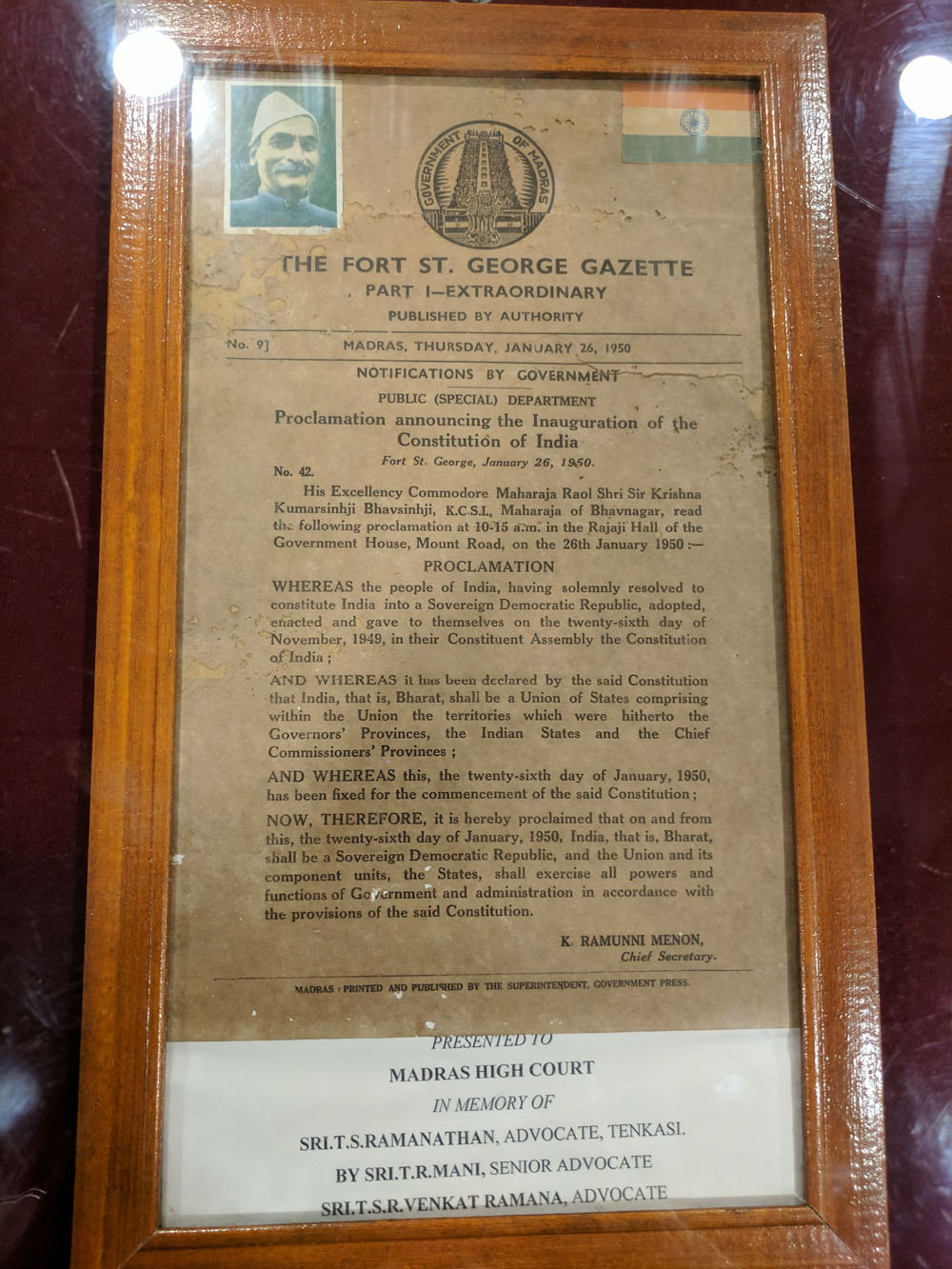 Proclamation announcing the Inauguration of the Constitution of India in Fort St.George - January 26, 1950