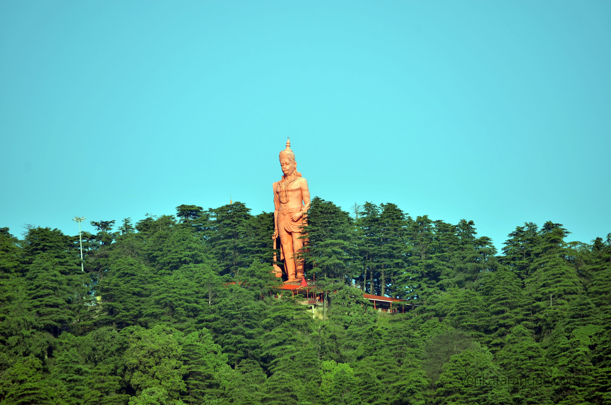 Sri Hanuman of Jakhu Temple overlooking the town