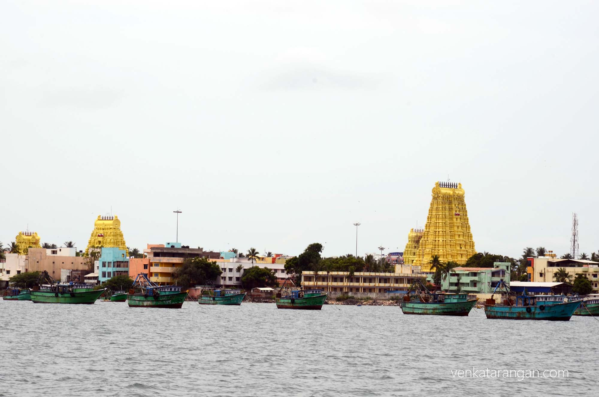 View from sea all the four gopurams of Ramanathaswamy temple, Rameswaram