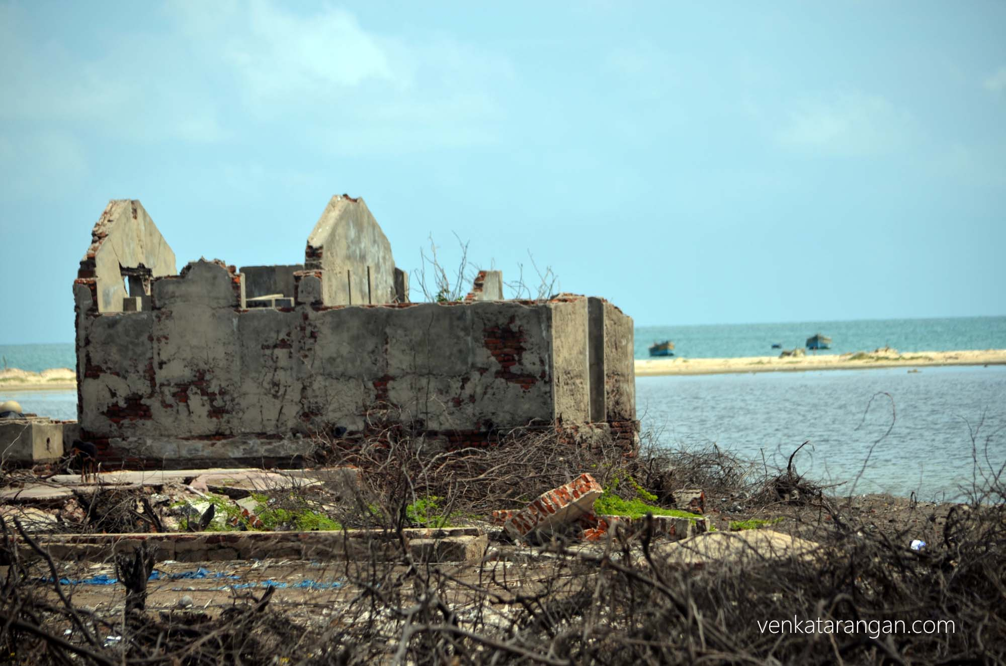 Destroyed houses in Dhanushkodi