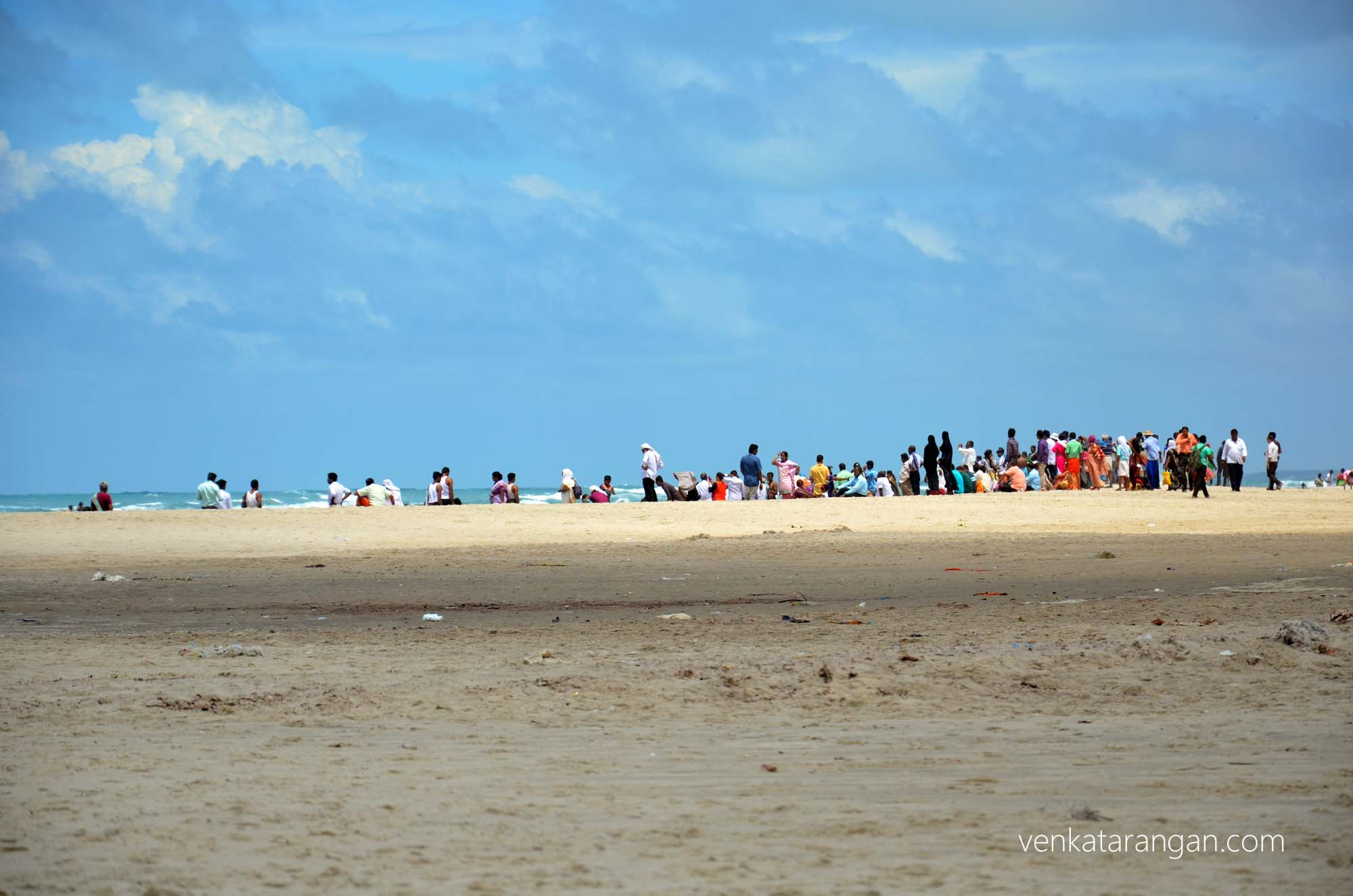 Hundreds of tourists visiting the pristine beaches in Dhanushkodi