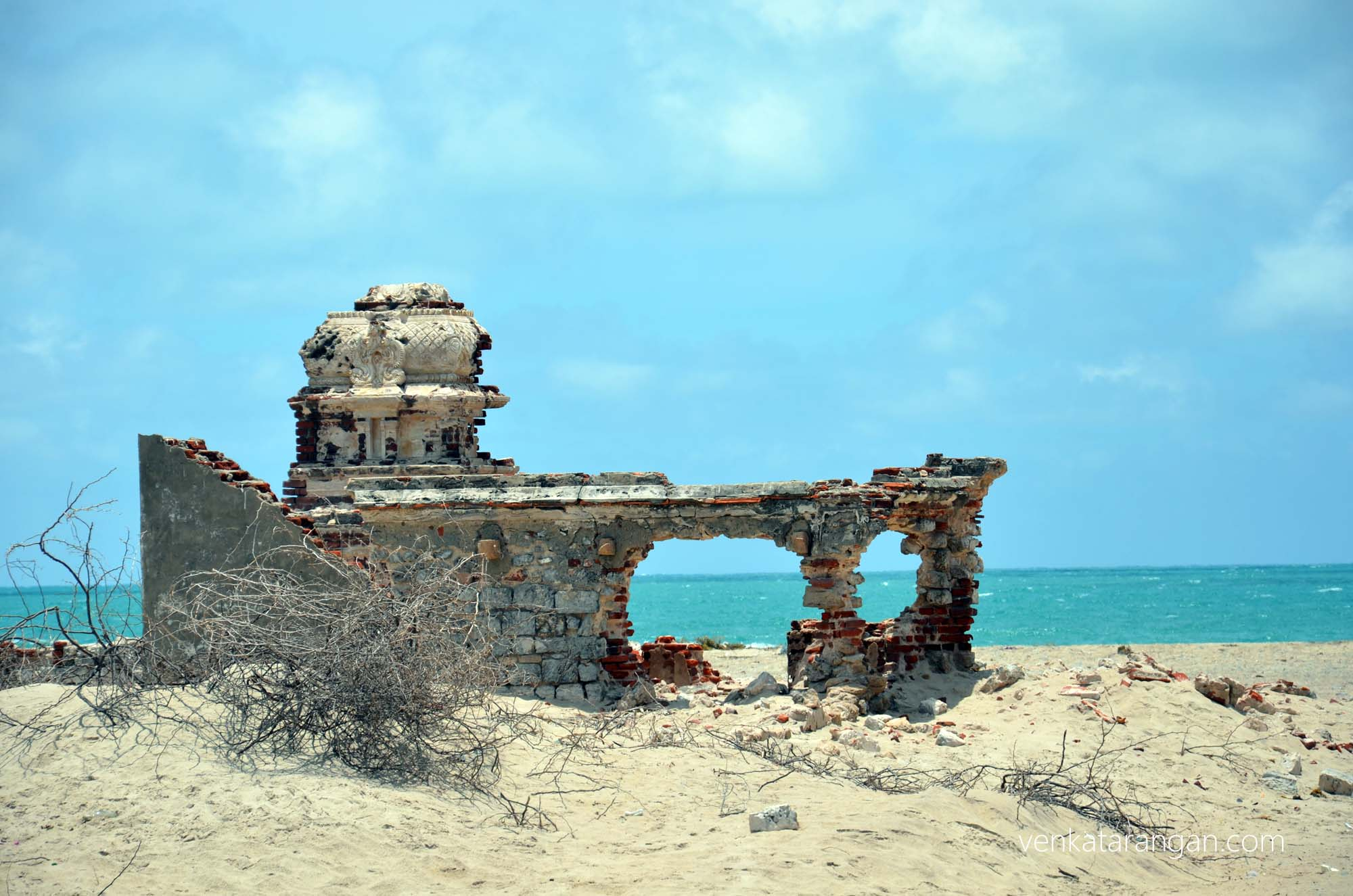 Ruins of the Hindu Temple, standing next to the Chapel - Dhanushkodi
