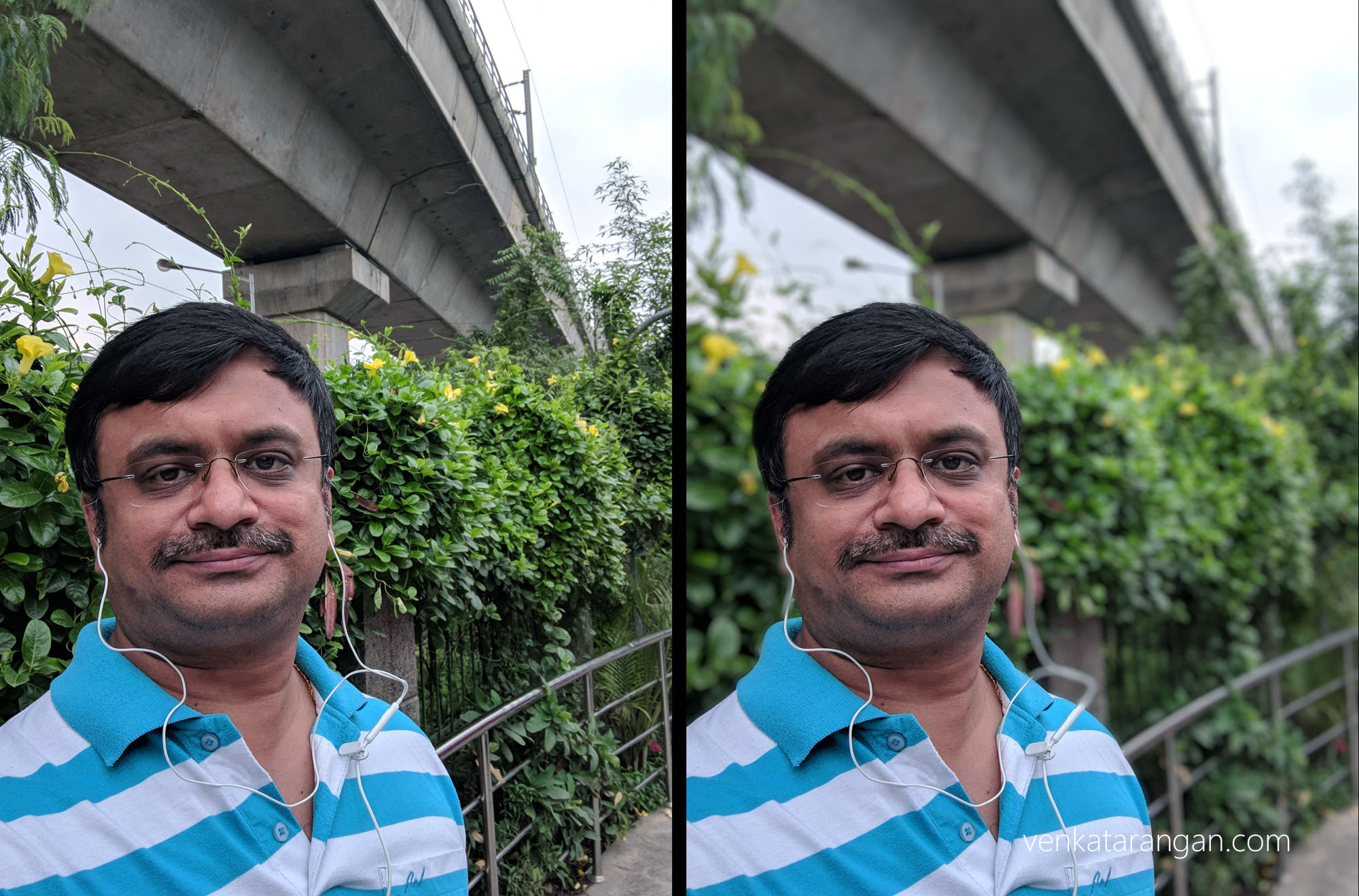 On Left Selfie from the front camera; On Right is Bokeh effect added automatically after processing, which takes a second