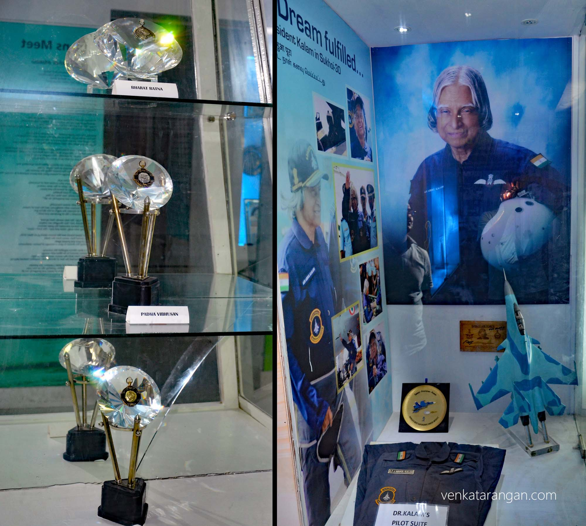 Models of Bharat Ratna and Padma Vibhushan, India's highest civilian honour, presented to Dr Kalam. The Pilot Suite he wore when he flew the Sukhoi fighter jet - flying was his dream