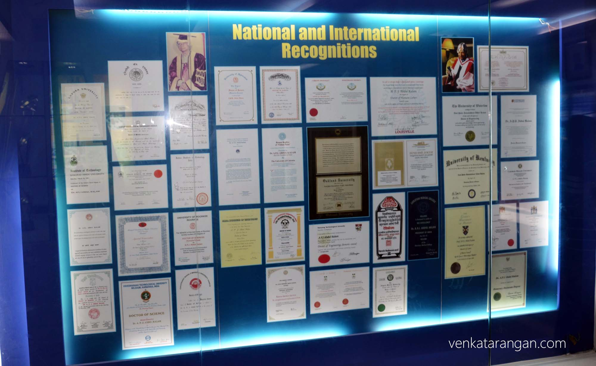 National and International Recognitions given to Dr Kalam