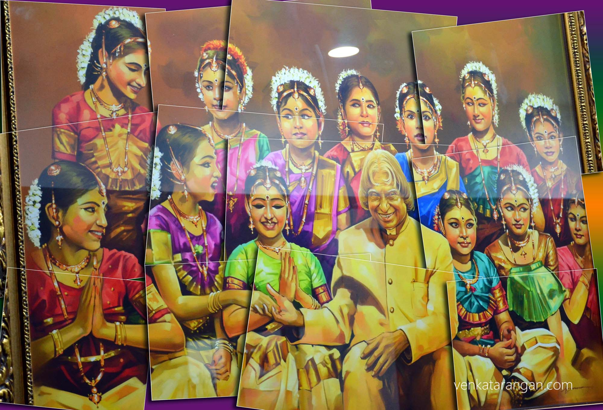 Painting showing young girls in Bharathanatyam, a classical dance costume; with Dr Kalam