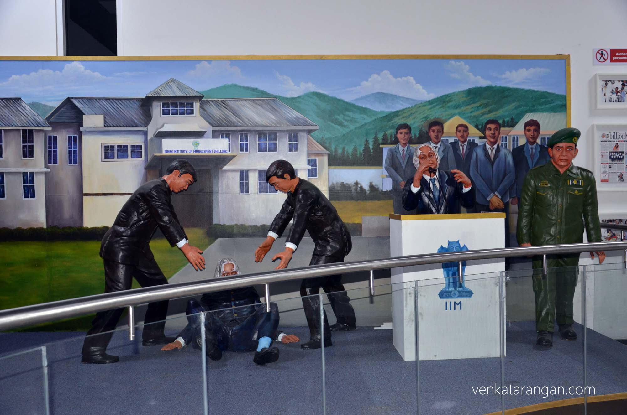 Model showing the last moments of Dr Kalam at the Indian Institute of Management, Shillong
