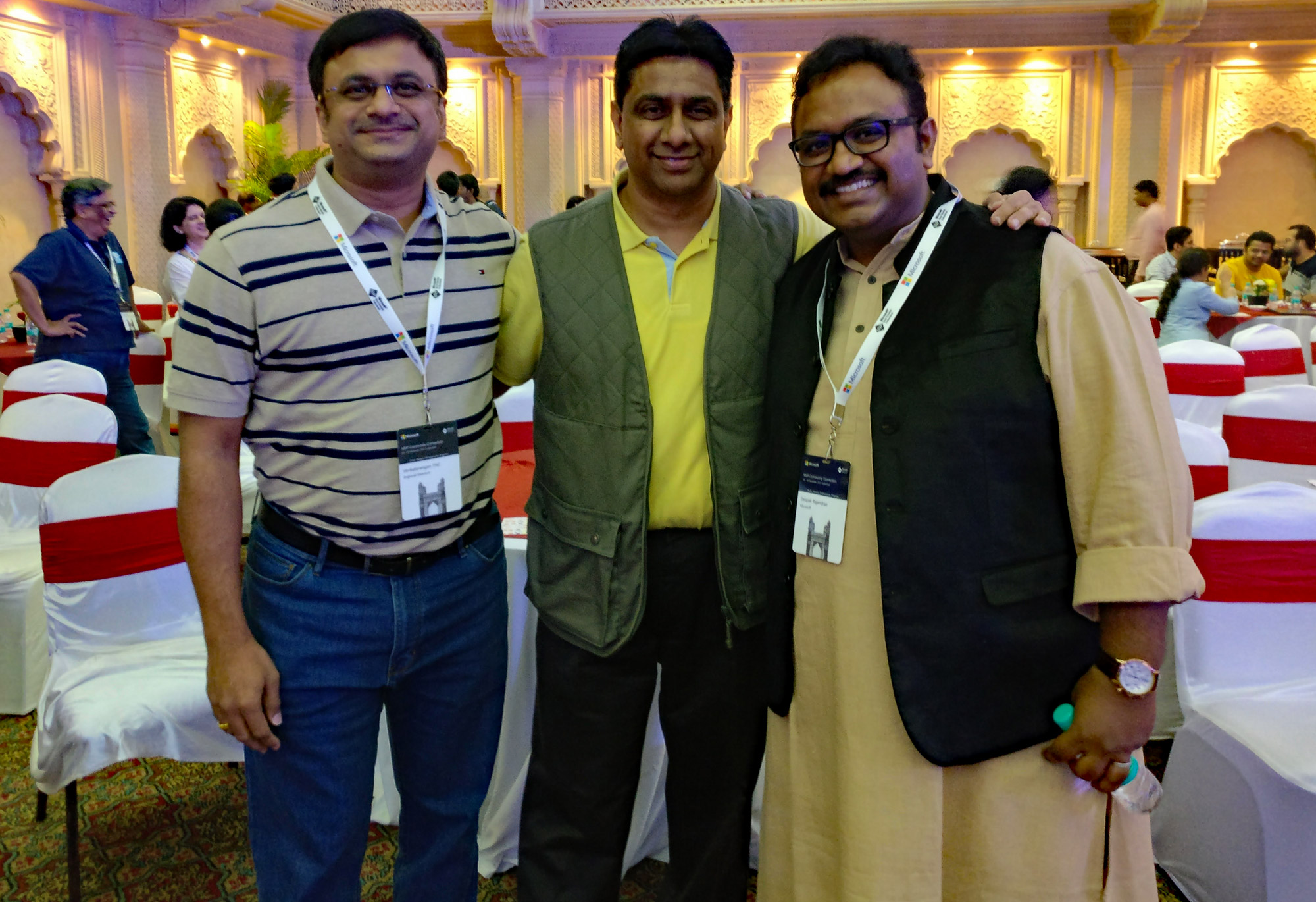 (From left) Venkatarangan, Praveen Srivatsa - RD from Bangalore, Deepak Rajendran - Community Program Manager, Microsoft India