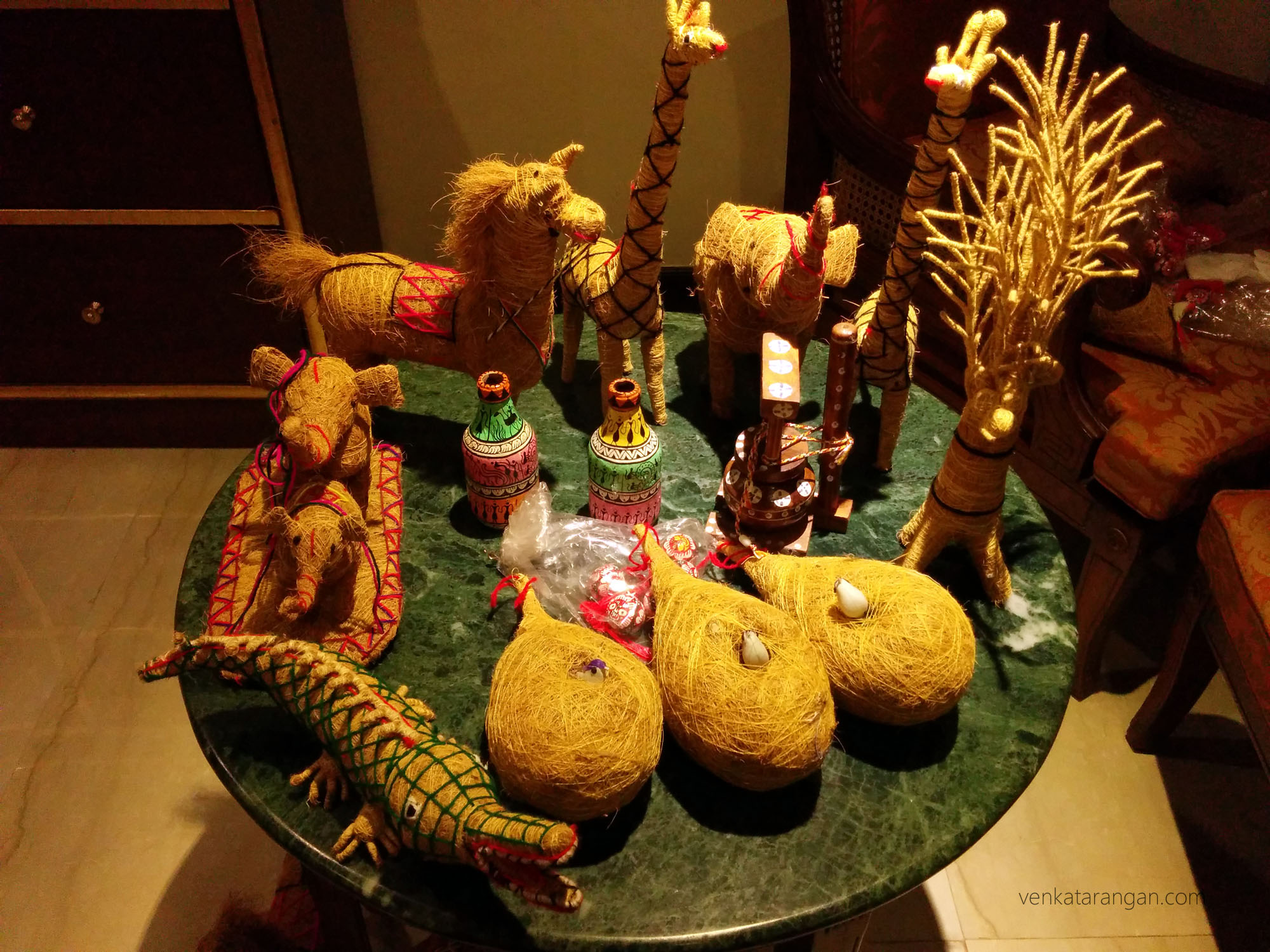 Replica of a crocodile, Elephants, Horses, Giraffe - all made with coconut stray