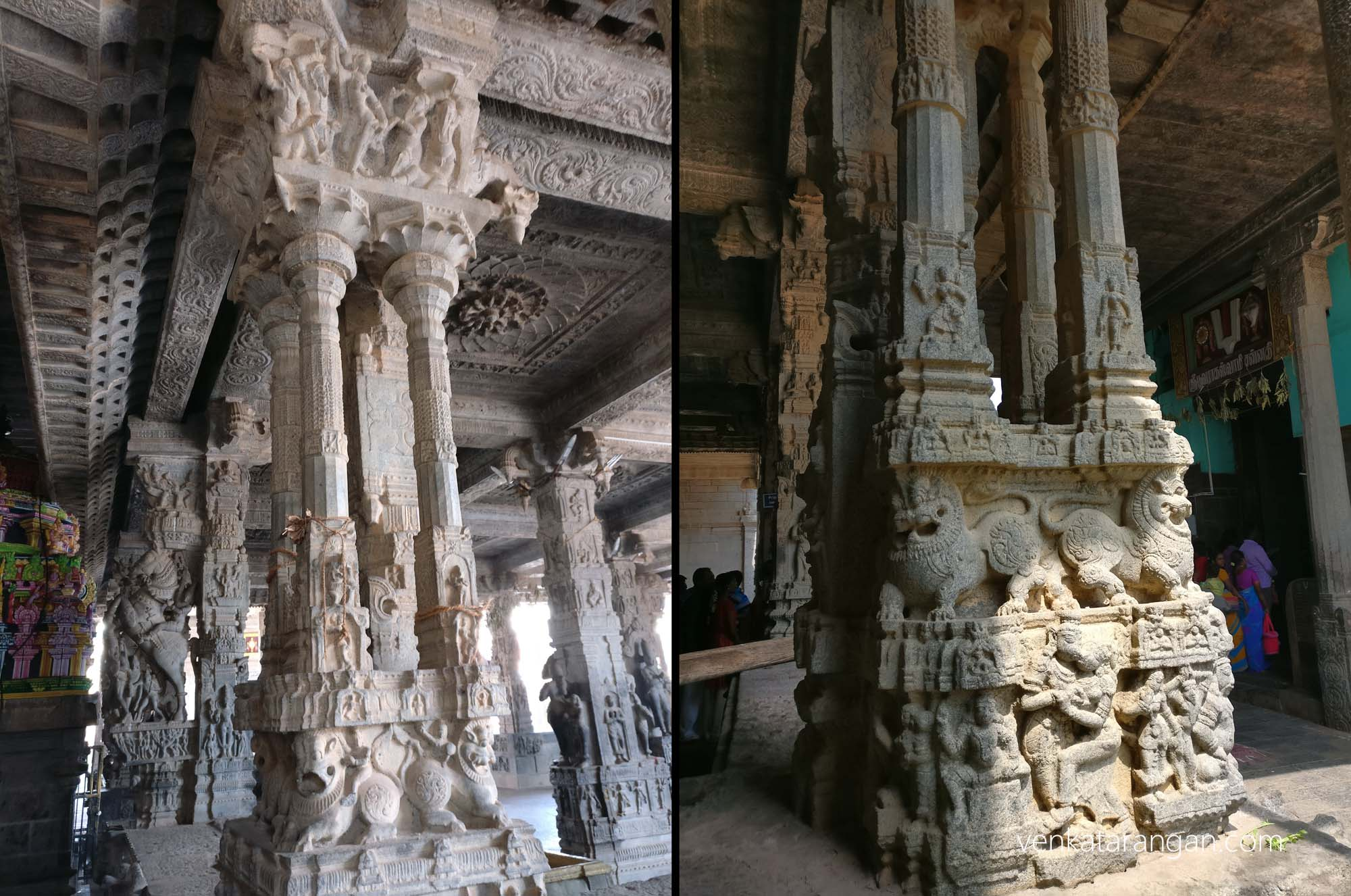 At every level of a pillar there are designs, in middle you can see mythical lions