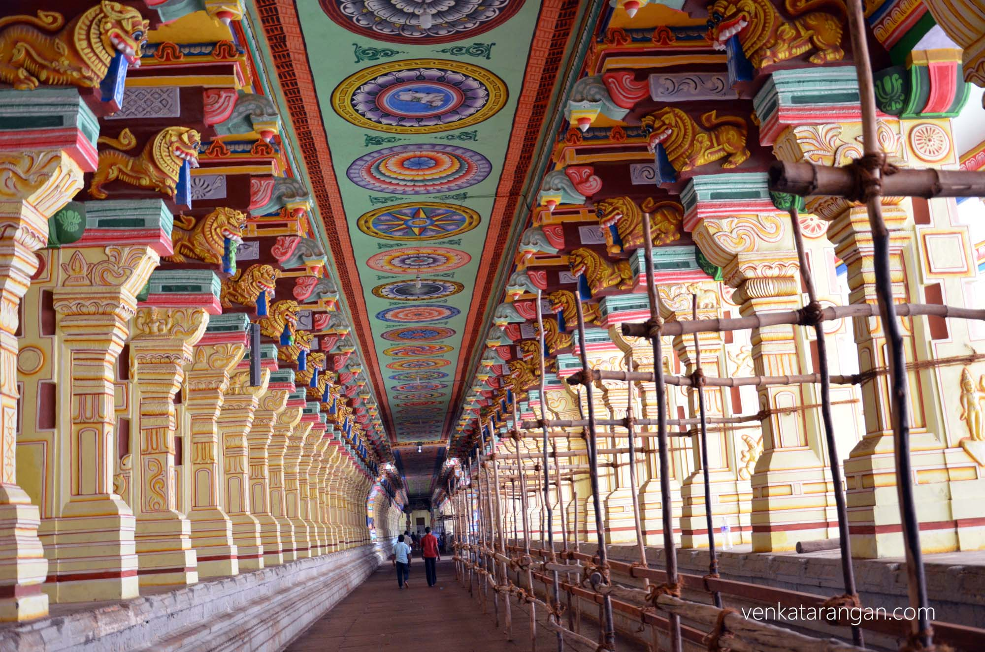 Beautifully decorated temple corridor, one of the longest in India
