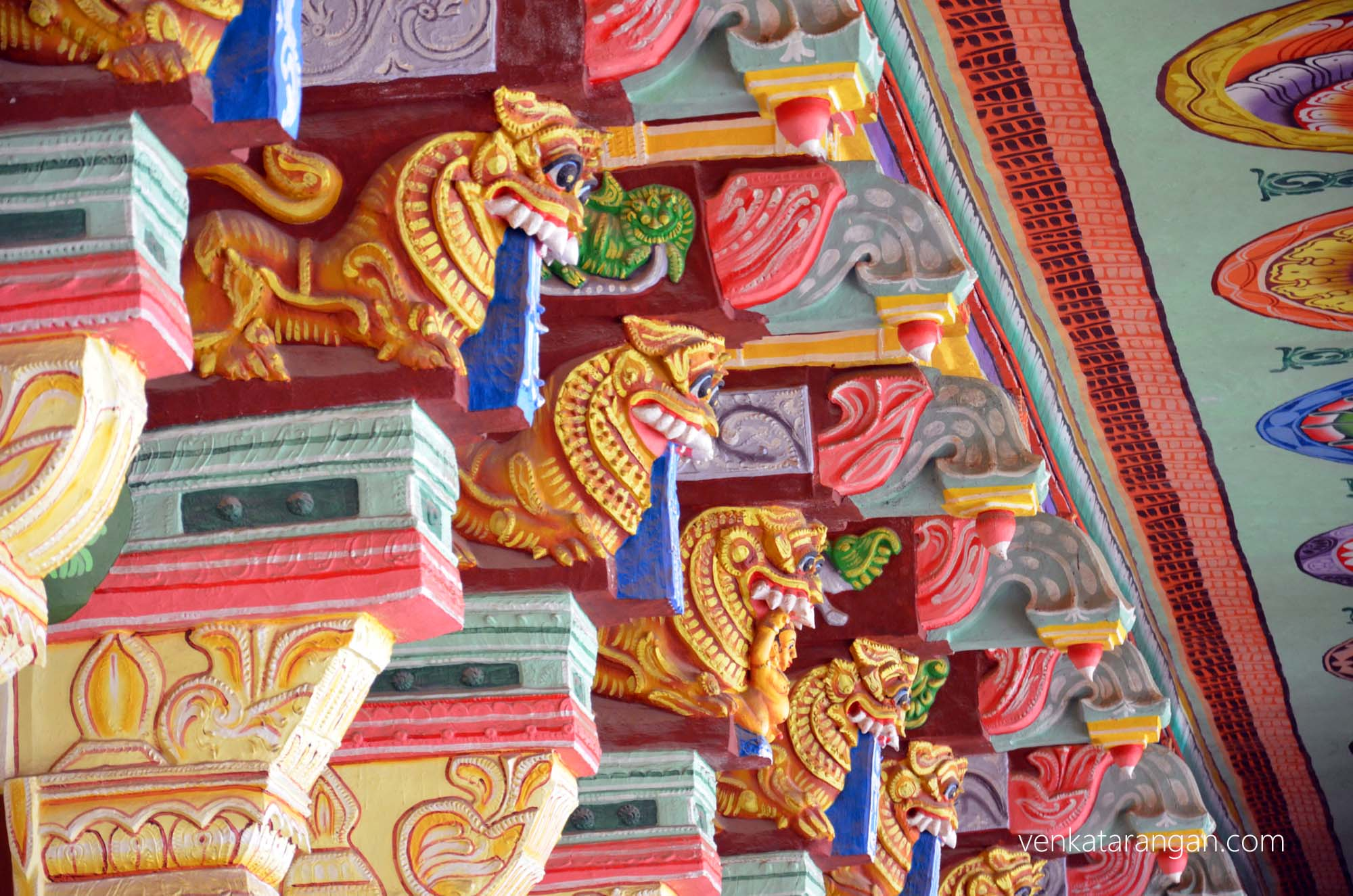 Mythical lions and devas are depicted in every pillar
