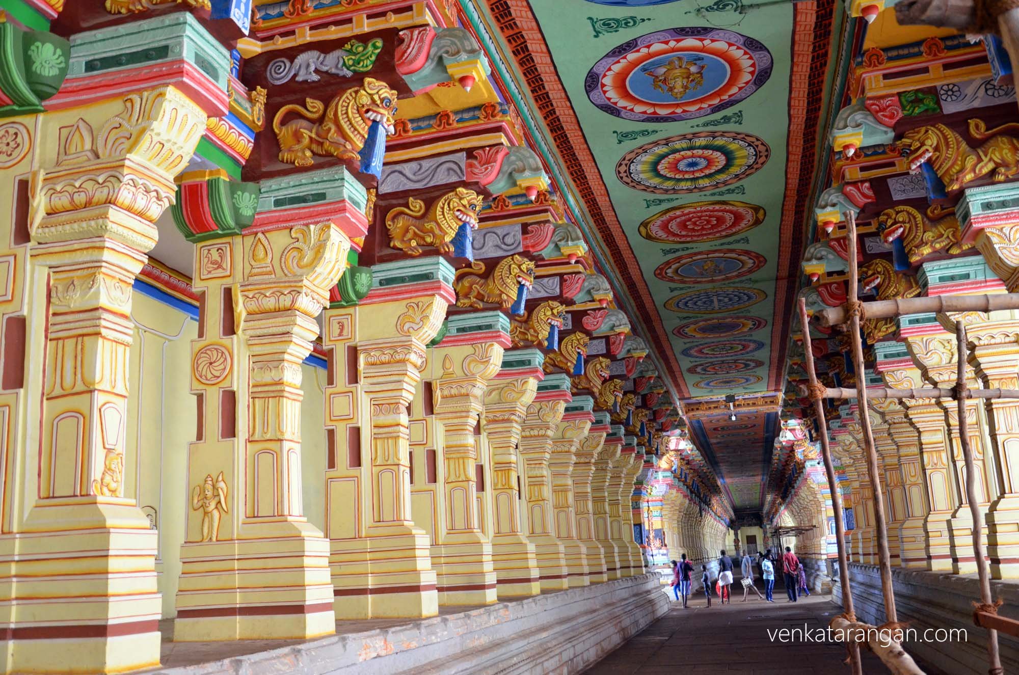 East-West Corridor is 649 feet long; North-South Corridor is 395 feet; Each Pillar is 22 feet in height. Overall 1212 Pillars are at Ramanathaswamy Temple, Rameswaram