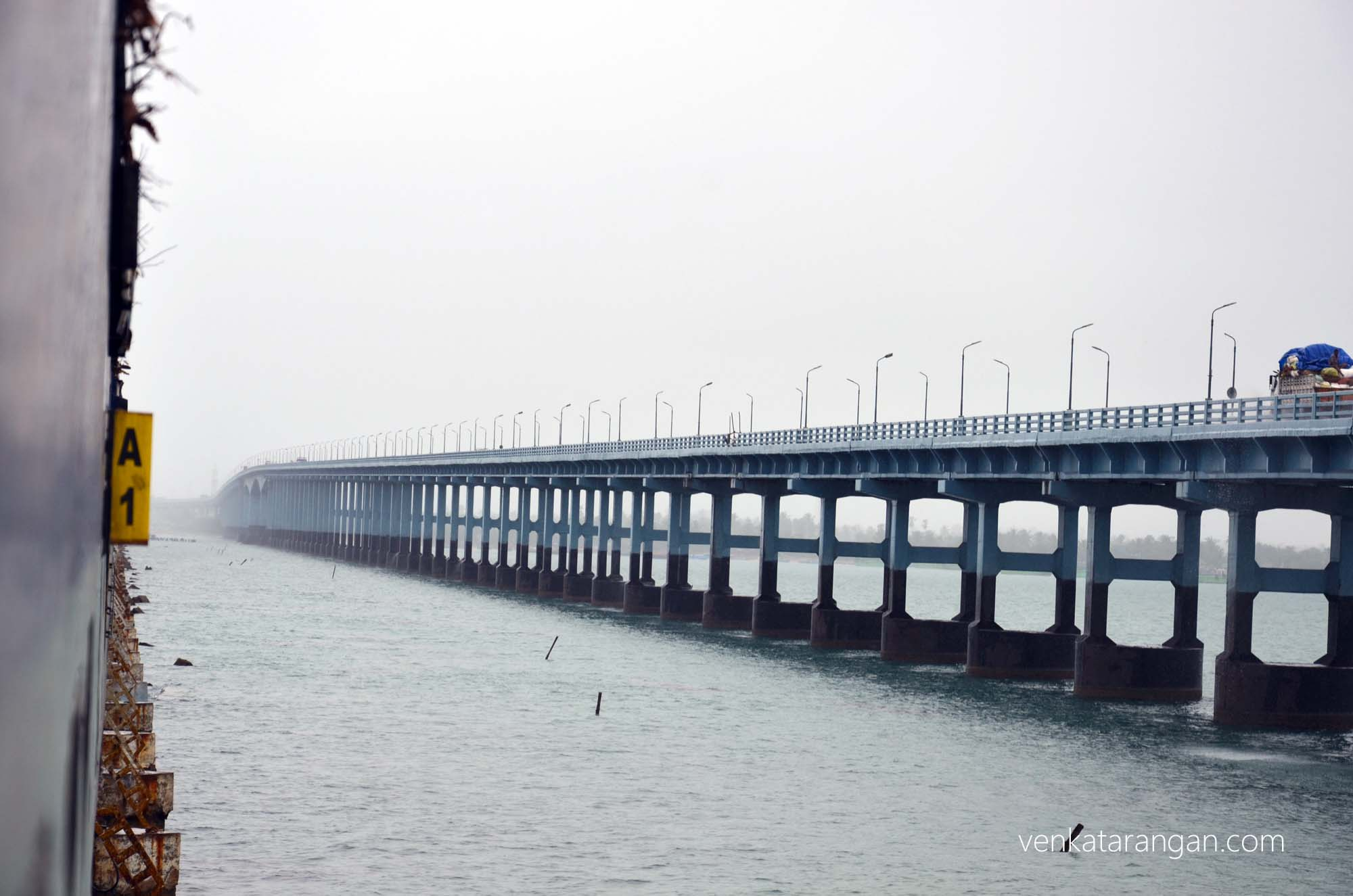 Train as it goes over the historic Pamban Bridge