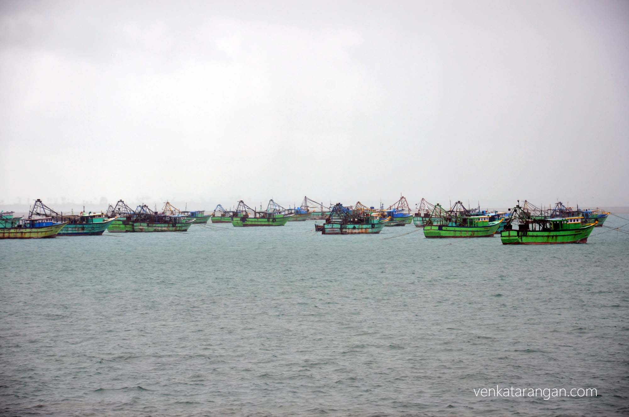 Fishing boats as seen from Pamban Bridge