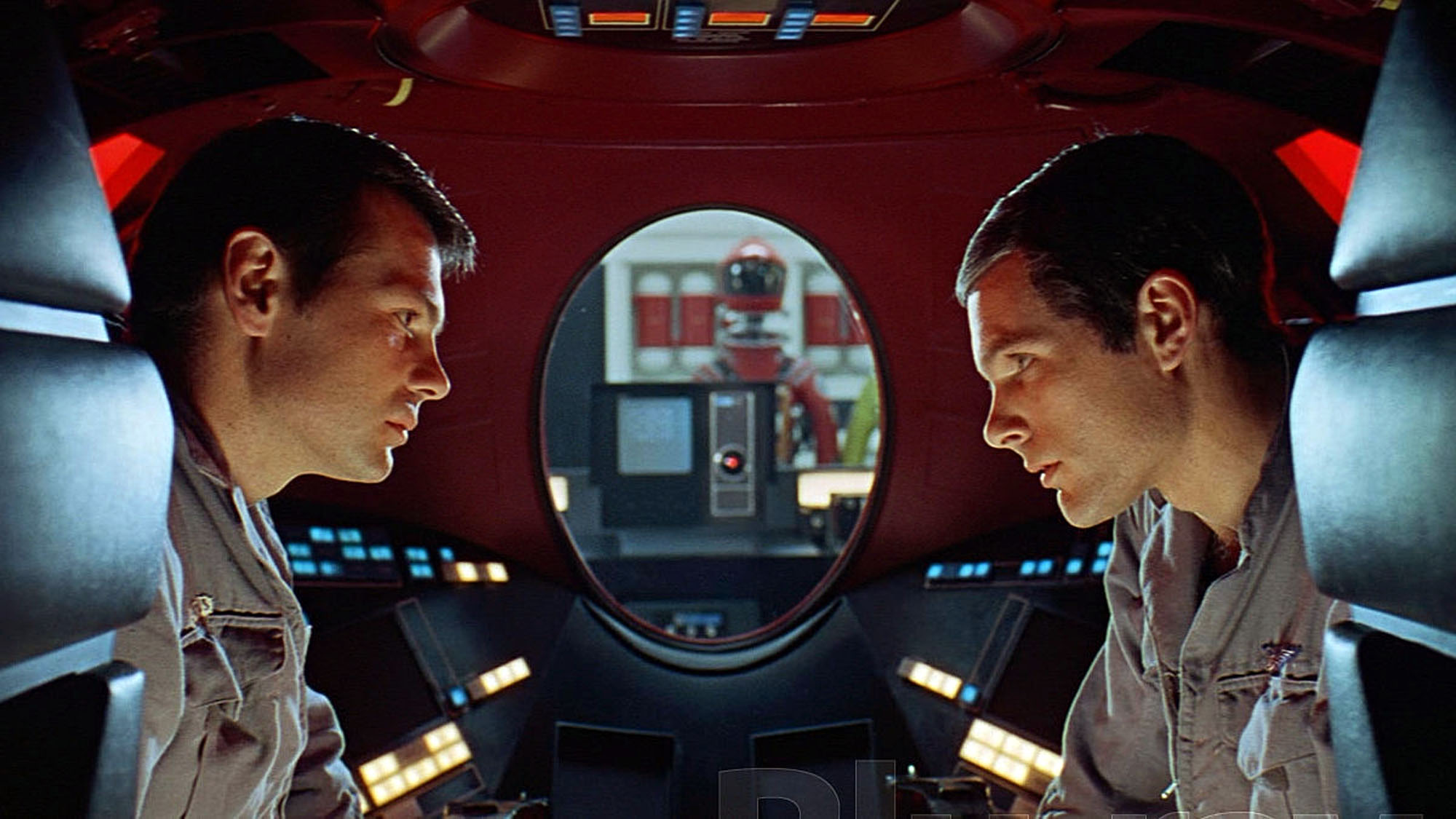 Crewmen Bowman and Poole in an EVA pod talking without HAL-9000 hearing them