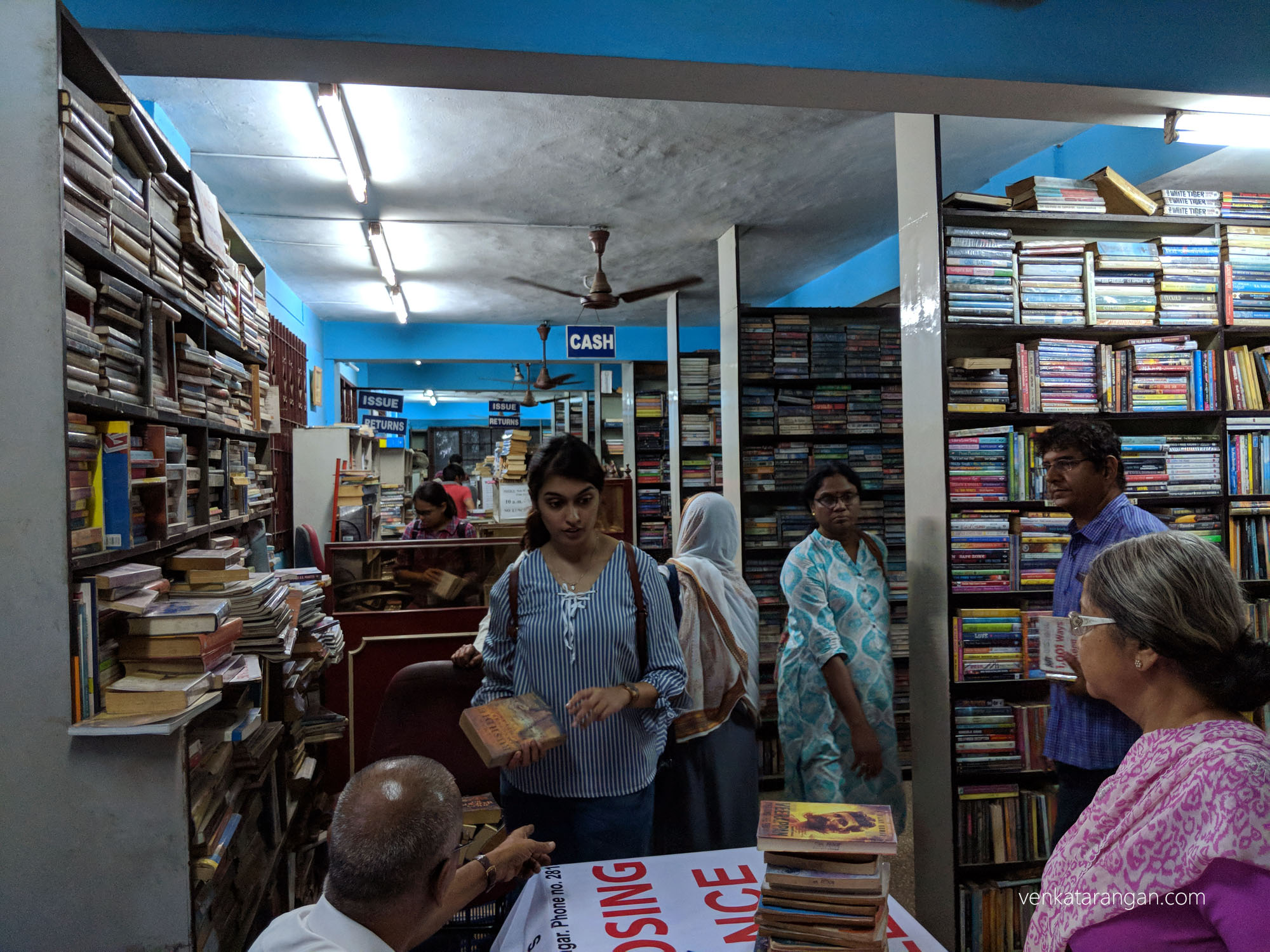 Ailes of books in Eloor Lending Library, Chennai