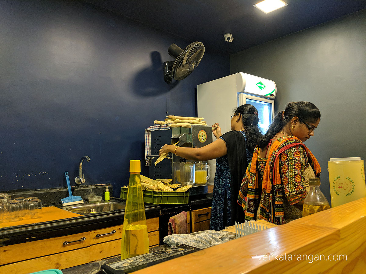 Sugarcane juice freshly pressed at Cane Blends, Ashok Nagar, Chennai