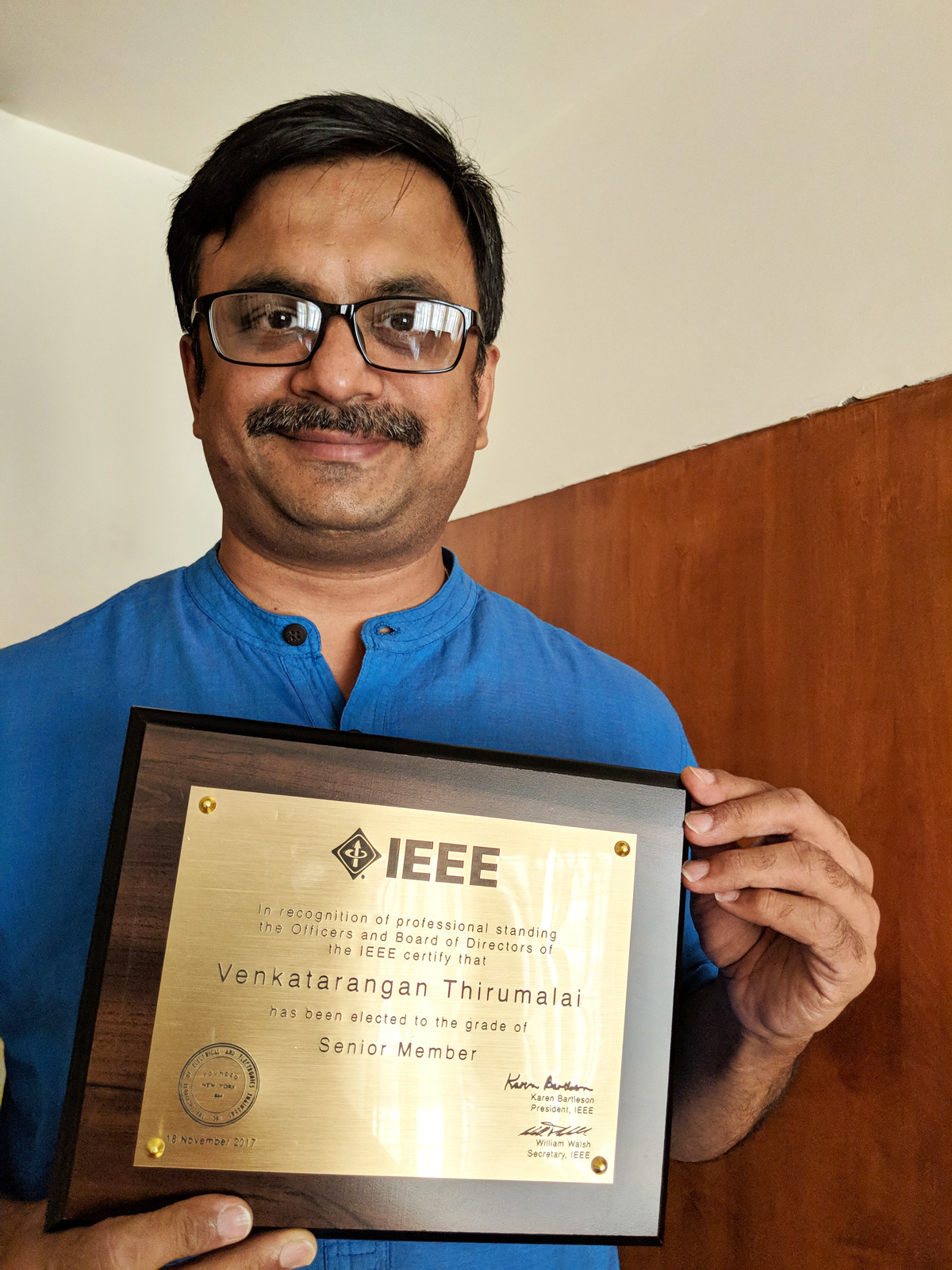 Super happy to be holding the IEEE Senior Member plaque