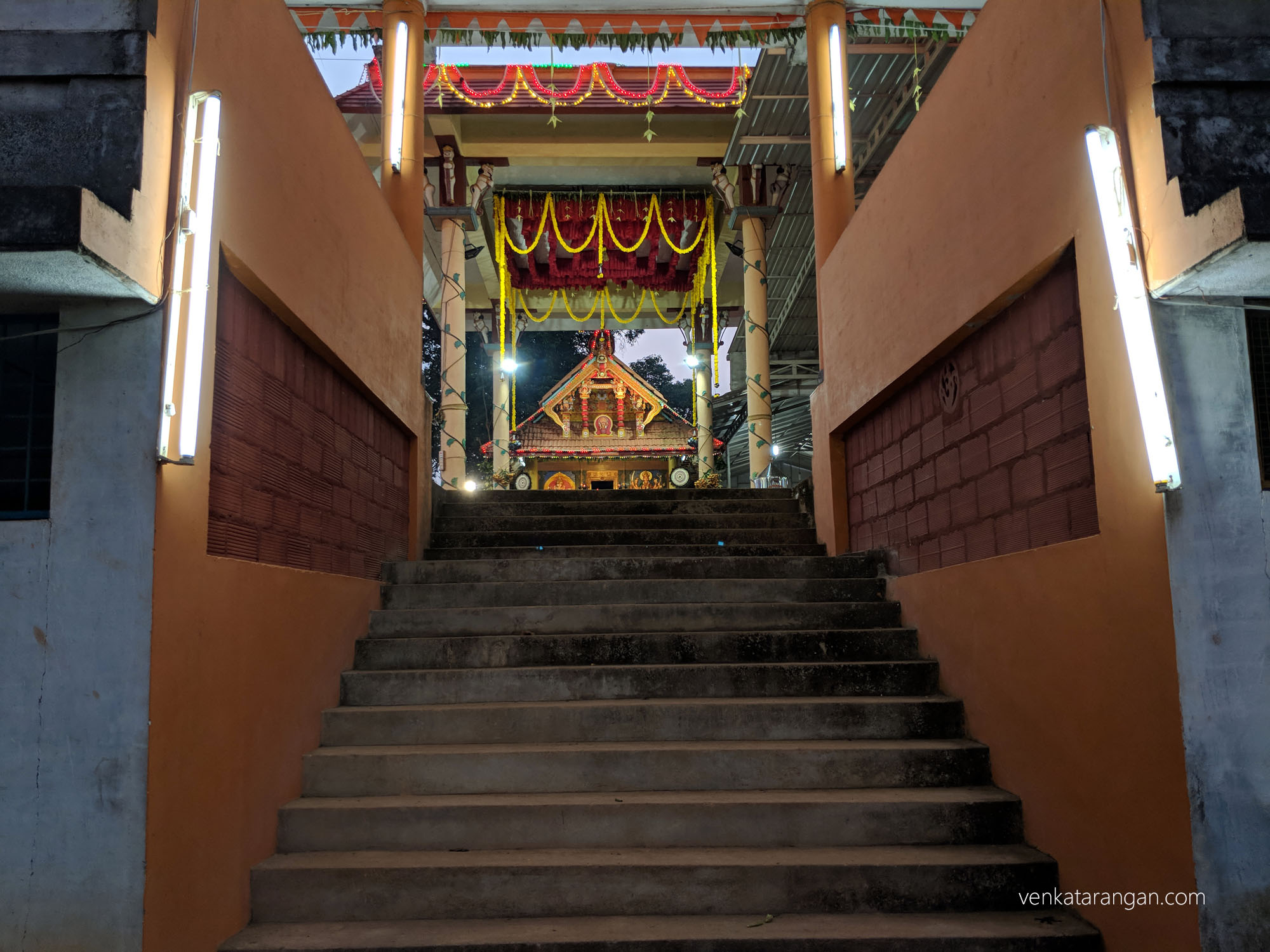 View of the sanctum sanctorum at the Pulikunnu Shree Ivar Bhagavathi temple, Kasaragod